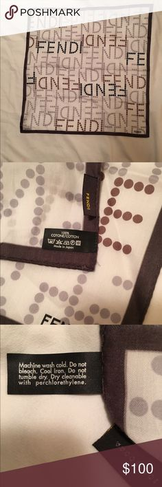 """Fendi silk scarf Vintage fendi silk scarf, 20"""" square, white backround with brown to tan poka a dots spelling fendi. Absolutely no sign of wear this is in perfect condition! Fendi Accessories Scarves & Wraps"""