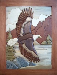 Woodworking Patterns Eagle's Flight Intarsia Pattern - by Bruce Worthington 120 pieces x All patterns are accompanied by a color picture. Visit Bruce Worthington's free ebook Intarsia 101 - A Beginners Guide to Wood Inlay Intarsia Woodworking, Woodworking Patterns, Woodworking Wood, Woodworking Beginner, Wood Mosaic, Mosaic Art, Intarsia Wood Patterns, Quilted Wall Hangings, Wooden Art