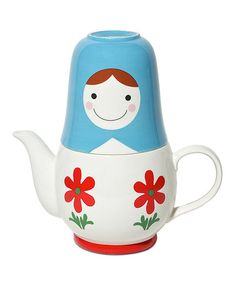 Look at this #zulilyfind! Blue Matryoshka Tea for Two Teapot Set #zulilyfinds