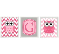 Owl Nursery Wall Art Print - Chevron Pink Gray Letter Initial Personalized Decor  - Children Girl Room Home Decor Set 3 8x10 Prints. $42.00, via Etsy.