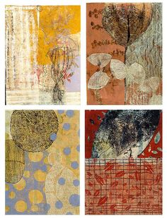 Isaksen's intricate artworks are created through an equally intricate process.  Using items from her garden, Isaksen creates monoprints on fiber paper, which are layered with an acrylic medium, leaving only what has been printed visible. Each artwork consists of numerous layers of monoprints, creating one cohesive composition full of color and depth. -I print them all, using yarns, fabric, seeds, pressed plants and other organic material.