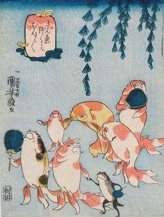歌川国芳 「金魚づくし ぼんぼん」 (1842)頃