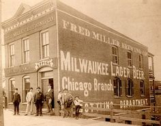 The Chicago bottling plant of the Fred Miller Brewing Company (Miller High Life, The Champagne of Beers!, etc), 1895, Chicago. MillerCoors i...