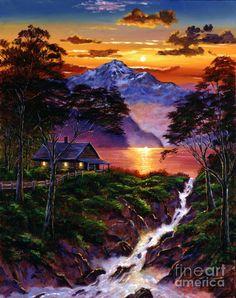 Wilderness Spirit by David Lloyd Glover ~ acrylics on canvas ~ mountains lake stream cabin vivid sunset