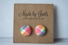 New to jewlswashere on Etsy: Fabric Button Earrings - Rad Plaid - Buy 3 get 1 free (6.00 USD)