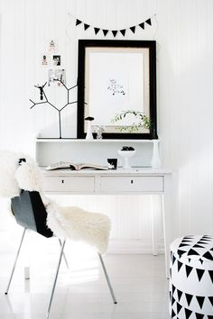 w h i t e desk, white home office,