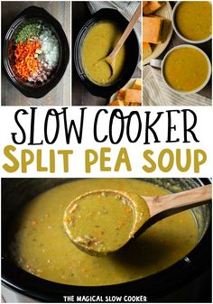 No fail recipe for Slow Cooker Split Pea Soup. Throw a few ingredients in the slow cooker and dinner will be ready when you walk in the door. - The Magical Slow Cooker Healthy Slow Cooker, Slow Cooker Soup, Slow Cooker Recipes, Crockpot Recipes, Soup Recipes, Cooking Recipes, Slower Cooker, Dinner Recipes, Weeknight Recipes