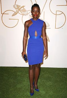 Lupita Nyong'o wearing our Autumn '14 asymmetircal dress as she is honored at the LoveGold Academy Awards Nominee Luncheon in Los Angeles