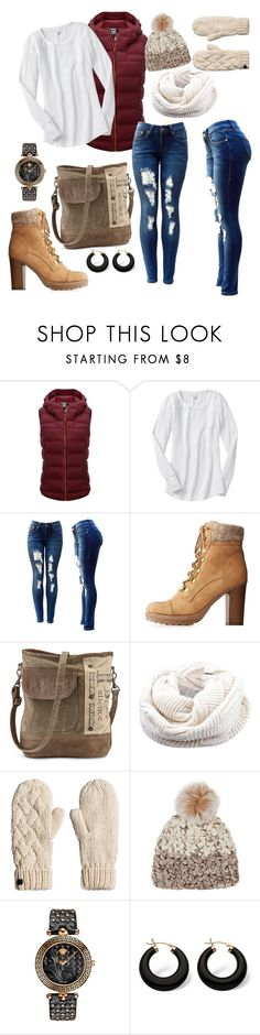 """""""Untitled #1597"""" by nikkey23 ❤ liked on Polyvore featuring Columbia, Charlotte Russe, Mischa Lampert, Versace and Palm Beach Jewelry"""