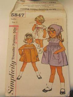 Sewing Pattern simplicité 5847 de 1950 Vintage, enfant taille 2 monopièce robe et foulard, patron de couture Uncut-vintage, vintage couture sur Etsy, 4,44€