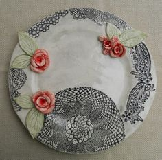 Bahia Art: Handmade plate with impressed lace detail, colour wash, handmade roses with leaves.