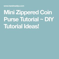 Mini Zippered Coin Purse Tutorial ~ DIY Tutorial Ideas!