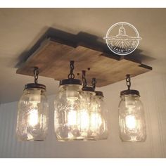Mason Jar Flush Mount Ceiling Light With Reclaimed Wood Pendant... ($200) ❤ liked on Polyvore featuring home, lighting, ceiling lights, fixtures, grey, home & living, reclaimed wood chandelier, grey lamp, gray chandelier and gray lamps