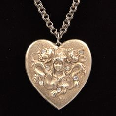Vintage Art Nouveau Repousse HEART Pendant Lady Flowing Hair Flowers Rhinestones