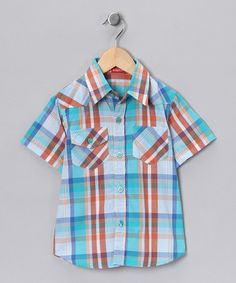 Take a look at this Teal & Orange Button-Up - Infant on zulily today!