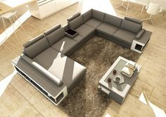 Stylish Design Furniture - Divani Casa 5080 Grey and White Leather Sectional Sofa w Coffee Table, $2,736.00 (http://www.stylishdesignfurniture.com/products/divani-casa-5080-grey-and-white-leather-sectional-sofa-w-coffee-table.html)