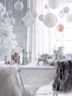 A Little More Festive Scandinavian Christmas Decor Scandinavian Christmas Decorations, Swedish Christmas, Noel Christmas, Christmas And New Year, Winter Christmas, Ideas Decoracion Navidad, Winter Wonderland Decorations, Deco Rose, Deco Table Noel