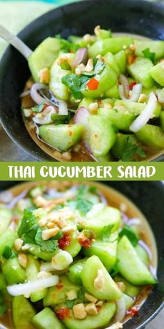 Veggie Dishes, Vegetable Recipes, Vegetarian Recipes, Cooking Recipes, Healthy Recipes, Healthy Food, Healthy Salads, Thai Cucumber Salad, Cucumber Recipes