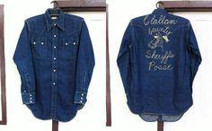 Vtg LEVIS SHORT HORN DENIM WESTERN SHIRT Vintage Jeans, Vintage Shirts, Denim Button Up, Button Up Shirts, Denim Shirts, Mens Fur, Cowboys Shirt, Levi Shorts, Western Shirts