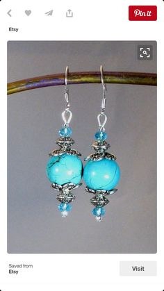 "Brilliant Turquoise ""Gumball"" Stone, Crystal & Silver Drop Earrings, made from re-constructed Turquoise and hand-dyed. Simple Earrings, Beaded Earrings, Earrings Handmade, Stone Earrings, Wire Jewelry, Jewelry Crafts, Beaded Jewelry, Jewellery, Jewelry Ideas"