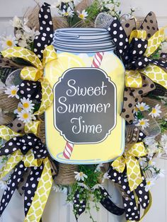 Whimsical Lemonade Burlap Mesh Spring and Summer Wreath by WilliamsFloral on Etsy https://www.etsy.com/listing/272868238/whimsical-lemonade-burlap-mesh-spring