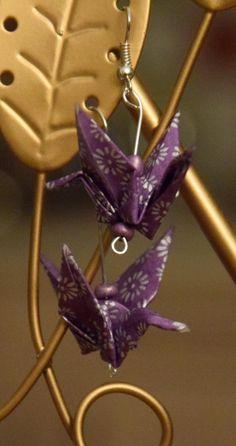 Boucles d'oreilles grues en origami : Boucles d'oreille par lililala