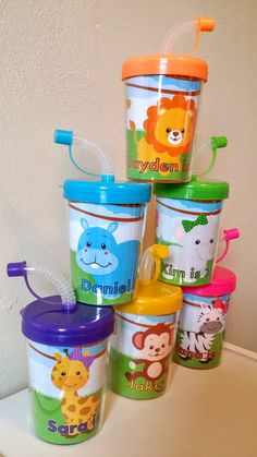 Zoo Animals Jungle Safari Personalized Party Favor Cups, Birthday Party Treat Cups, Zebra, Lion, Hippo, Monkey, Elephant Set of 6