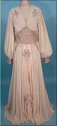 Peignoir Bridal Honeymoon Set of Blush Sheer Crepe and Lace. Luxurious  Wedding Nightgown and Robe or Wedding Trousseaux My Aunt had this and let  me play ... 78b1a6daf