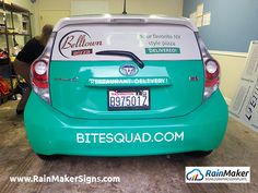 Bite Squad restaurant deliver service co-ops rear window graphics with their business partners.   http://www.rainmakersigns.com/portfolios/car-rear-window-graphics-seattle-wa Bite-Squad-rear-window-graphics-rainmaker-signs-bellevue
