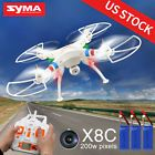 "﹩62.49. Syma X8C 2.4G 6-Axis Gyro RC Quadcopter RC Drone with 2.0MP HD Camera US Stock   Required Assembly - Ready to Go/RTR/RTF (All included), Color - White, Material - Plastic, Suitable ages - Above 14 Years old, Channels - 4 Channels, Remote control frequency - 2.4GHz, Gyroscope - Six axis, Working time - about 7 minutes, Dimensions: - 50 x 50 x 19cm/20""x20""x7.6"", Transmitter battery - 4 x 1.5V AA batteries (not included), Controller mode - Mode 2, Battery power - 7"