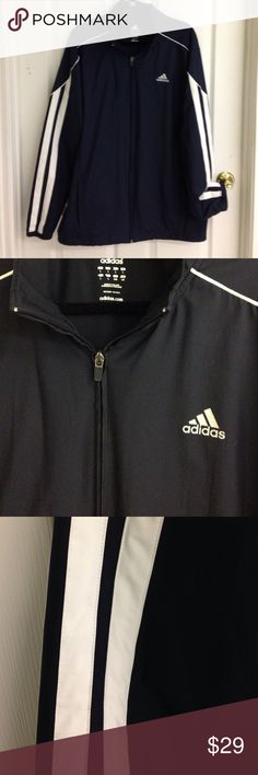 ⏰FREE SHIP 1 HR⏰ Adidas Men's Jacket-Never Worn! Adidas men's navy blue and white jacket. Lined with a netted like material. Elastic at sleeves cuff. Elastic pull to tighten at hem. Never worn, 100% polyester in Excellent condition! Size L Adidas Jackets & Coats