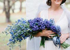 Absolutely Lovely Arm Sheaf/Presentation Wedding Bouquet Arranged With: Blue Delphinium, Blue Hyacinth + Purple Hyacinth~~ Wedding Arms, Ugly Wedding Dress, Wedding Stuff, Delphinium Bouquet, Blue Delphinium, Long Stem Flowers, Flowers In Hair, Bridal Flowers, Flower Bouquet Wedding