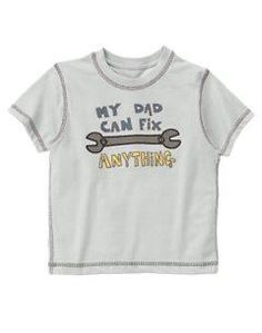 """Gymboree Stunt Man """"My Dad Can Fix Anything"""" Grey Wrench Tool T Shirt Boys sz 2T FREE SHIPPING"""