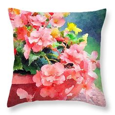"BucketOBegonias 16"" x 16"" Throw Pillow by Anna Porter.  Multiple sizes available."