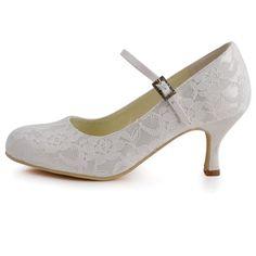 Amazon.com: Elegantpark EP1085 Women's Round Toe Buckle Lace Pumps Bridal Wedding Shoes: Shoes