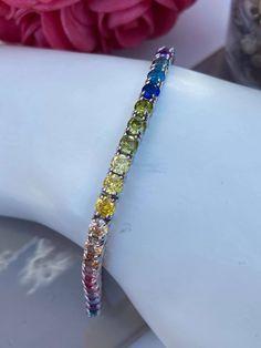 Bracelet tennis en argent 925 et pierre synthétique multi-color Bracelet Tennis, Bracelets, Diamond, Jewelry, Lobster Clasp, Stone, Jewlery, Jewerly, Schmuck