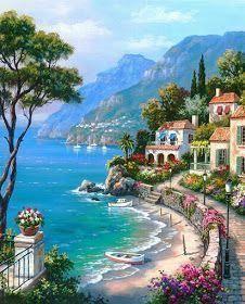 Village On The Water Mural Wallpaper Landscape Paintings Landscape Art Beautiful Landscapes