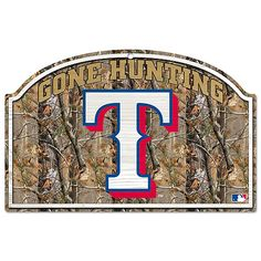 Texas Rangers Real Tree Wood Sign