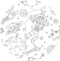 Michael Miller Fabric - To The Moon and Back - Color Me by Hayley Crouse - 1 Yard by PKFabulousFabric on Etsy Tissu Michael Miller, Michael Miller Fabric, Space Boy, Alien Creatures, Fabric Markers, Kawaii, Craft Shop, Creative Kids, Colored Pencils