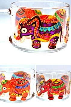 Elephant mug Hand painted Personalized elephant gifts Colorful mugs Large coffee mug Gift for mom birthday Indian elephant Bottle Painting, Bottle Art, Bottle Crafts, Elephant Mugs, Elephant Gifts, Glass Painting Designs, Paint Designs, Pottery Painting, Diy Painting