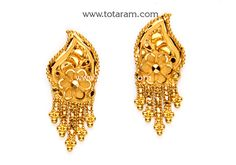 Gold Earrings for Women in 22K Gold - GER6428 - Indian Jewelry from Totaram Jewelers
