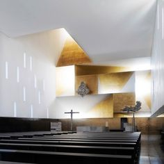 "Parish Church of Santa Monica, designed by Vicens & Ramos ~ ""Following the guidance of the Diocesan Council of Temples and the program of requirements provided by the same and later adjusted to the needs of the Parish of Santa Monica, the building design integrates in one building all the spaces that correspond to Church, Parish offices and priest housing."""
