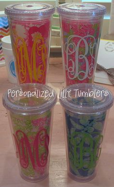 Personalized Lilly Tumblers with Straw by preppypapergirl on Etsy, $22.00