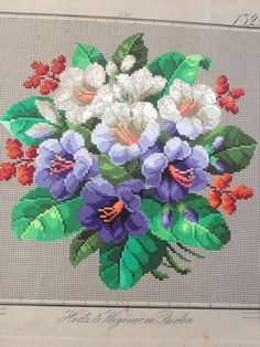Antique Berlin Woolwork Pattern Bouquet | eBay