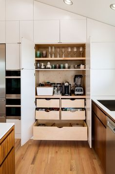 Wall of Cabinet storage for small kitchen pantry.