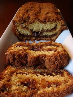 Cinnamon Coffee Cake Bread 2 cups flour 1 teaspoon baking soda 1 teaspoon baking powder 1/2 teaspoon salt 1/4 cup butter at room temperature 1 cup white sugar 2 large eggs 1 teaspoon vanilla extract 1 cup buttermilk 1 cup brown sugar 2 heaping tablespoons ground cinnamon DIRECTIONS Preheat oven to 350 degrees and spray a 9x5 loaf pan. Bake for 50-60 minutes