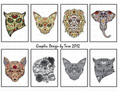 NEW Day of the Dead Sugar Skull Animals by graphicdesignbytara