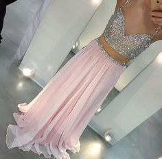 Long Two Piece Prom Dress Spaghetti Straps Sweetheart Chiffon Sparkly Beading Pink Prom Gowns-in Prom Dresses from Weddings & Events on Aliexpress.com | Alibaba Group