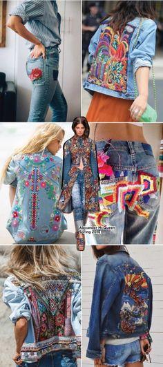 jeans-bordado-calca-colete-jaqueta-denim jeans-embroidery-pants-vest-jacket-denim ideas for jeans Mode Hippie, Bohemian Mode, Hippie Style, Boho Chic, Hippie Chic, Diy Fashion, Ideias Fashion, Fashion Design, Jeans Fashion