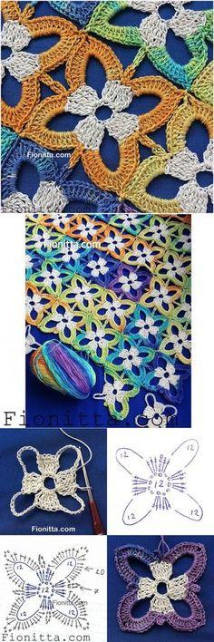 Floral motif, knitting, most popular news for free on onlain . : Floral motive, knitting, most popular news for free on Onlain … Crochet Motifs, Crochet Blocks, Crochet Stitches Patterns, Crochet Art, Crochet Squares, Love Crochet, Crochet Designs, Crochet Crafts, Crochet Doilies